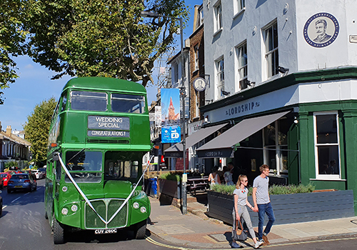 Wedding Special green double decker bus